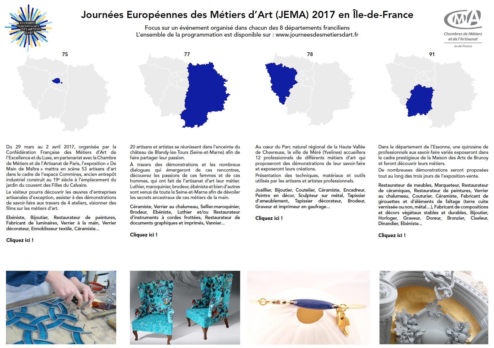 Journées Européennes des Métiers d Art JEMA Chambres de